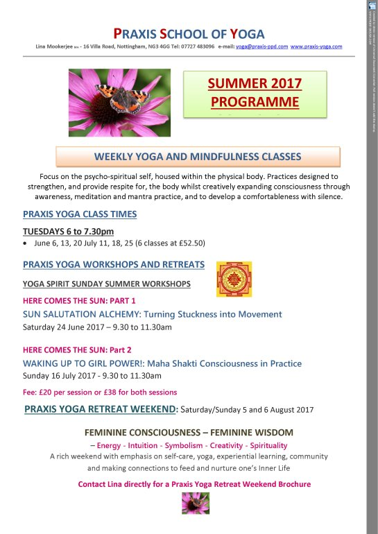 Praxis Yoga Summer Term 2017 Classes