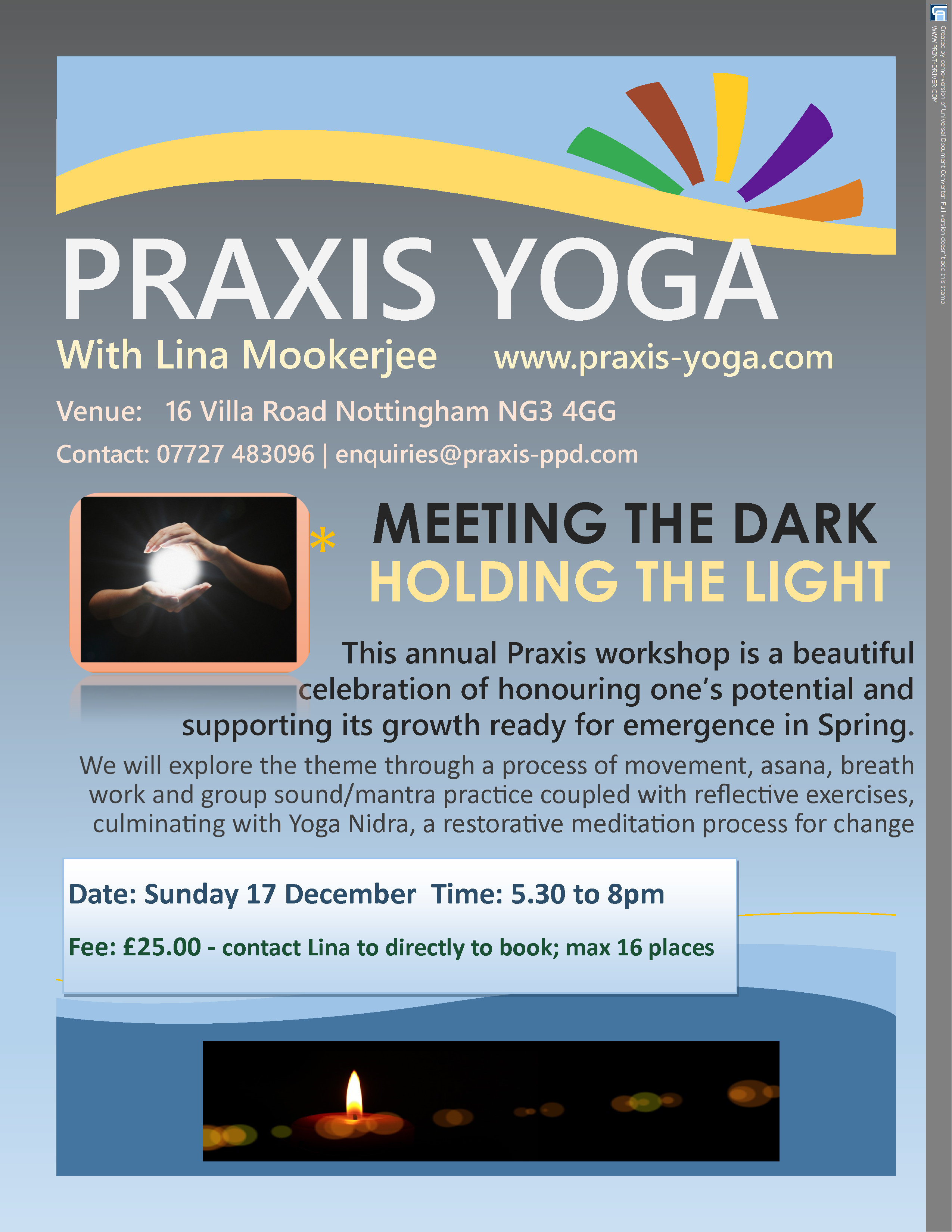 Praxis 2017 Christmas Workshop Advert